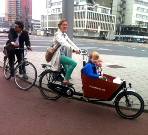 A short Bakfiets pictured in its homeland with a double load